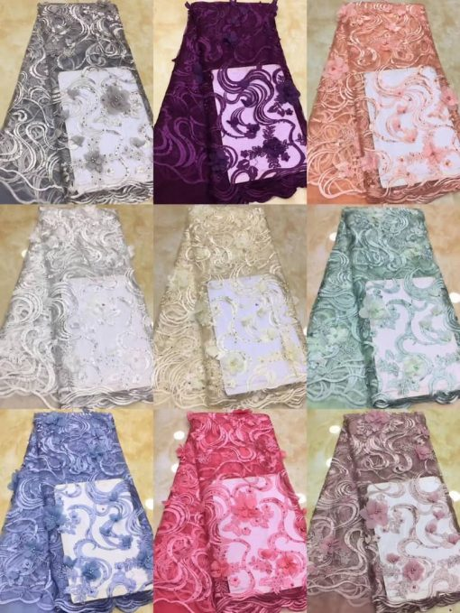 3D Sample Lace Fabric with Tiny Beaded Petal Flowers.