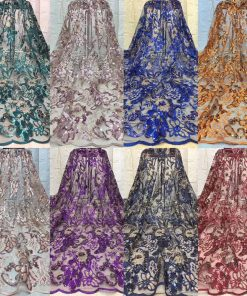 Golden Flower Patterned Tulle Sample Lace Sequin Fabric. 5 Yards/Lot