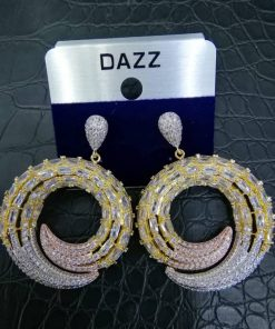 Dazz 2 Tone Zircon Crystal Drop Earrings.